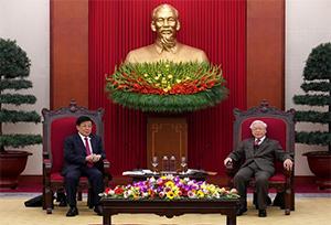 Tổng Bí thư, Chủ tịch nước Việt Nam Nguyễn Phú Trọng tiếp Ủy viên Qu