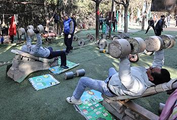Những người yêu thích thể dục ở Tề Nam rèn luyện sức khỏe đón năm mới