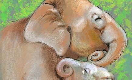 ภาพวาดช้างป่าอพยพยูนนานอันแสนน่ารัก...