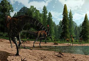 Nhân viên nghiên cứu phát hiện địa điểm có dấu chân của khủng long chân