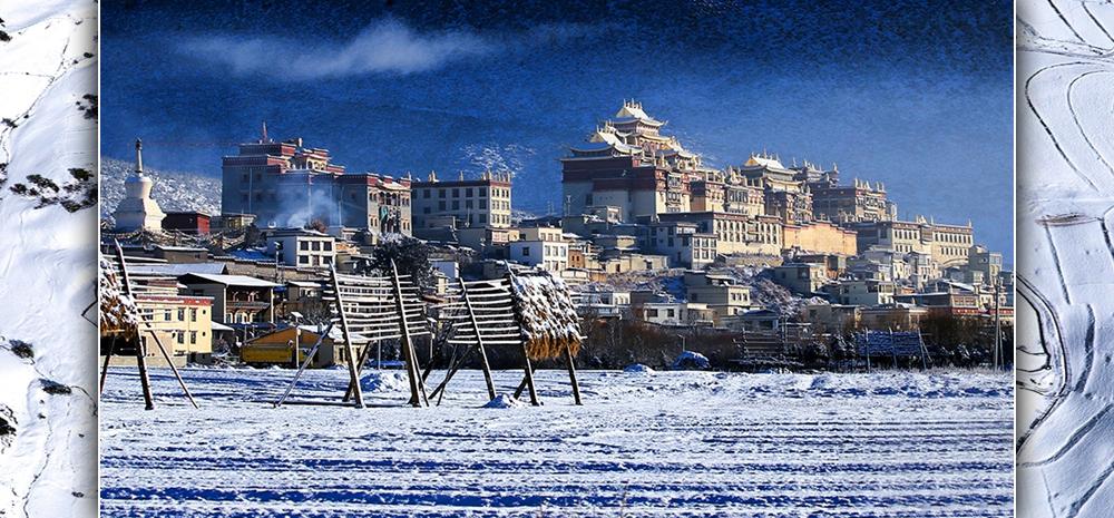 ภาพถ่ายทางอากาศทิวทัศน์หิมะของแชงกรีลา