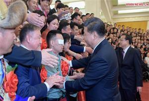 ปธน.จีนพบผู้พิการตัวอย่างและผู้สนับสนุนกิจการผู้พิการระดับชาติ
