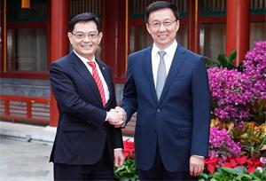 รองนายกรัฐมนตรีจีนพบรองนายกรัฐมนตรีสิงคโปร์