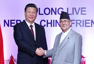 ประธานาธิบดีจีนเจรจากับนายกรัฐมนตรีเนปาล